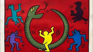 Photo shows fraudulent art attempted to be sold as genuine Keith Haring piece.