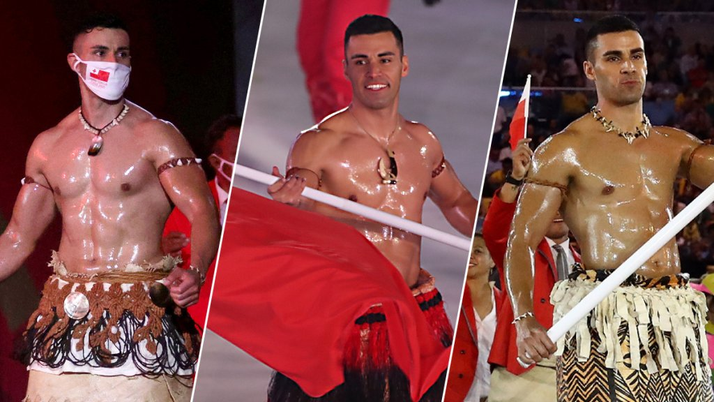 Pita Taufatofua, Tonga's most well known flag bearer, leads the Tonga delegation during the opening ceremonies of the Tokyo Olympics, the 2018 Pyeongchang Olympics and the 2016 Rio Olympics respectively.