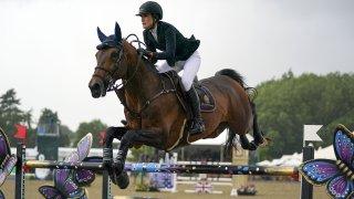 Jessica Springsteen riding Don Juan van de Donkhoeve competes in the Rolex Grand Prix at the Royal Windsor Horse Show, Windsor.