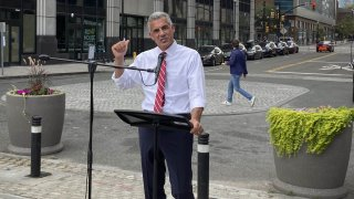 New Jersey Republican gubernatorial candidate Jack Ciattarelli calls for scrapping the state's current school funding formula to lower property taxes, during a press conference, Wednesday Aug. 18, 2021, in Jersey City, N.J.