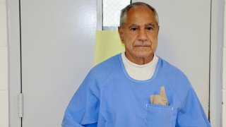In this image provided by the California Department of Corrections and Rehabilitation, Sirhan Sirhan arrives for a parole hearing Friday, Aug. 27, 2021, in San Diego. Sirhan faces his 16th parole hearing Friday for fatally shooting U.S. Sen. Robert F. Kennedy in 1968.