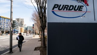 STAMFORD, CT - APRIL 2: Signage for Purdue Pharma headquarters stands in downtown Stamford, April 2, 2019 in Stamford, Connecticut. Purdue Pharma, the maker of OxyContin, and its owners, the Sackler family, are facing hundreds of lawsuits across the country for the company's alleged role in the opioid epidemic that has killed more than 200,000 Americans over the past 20 years.