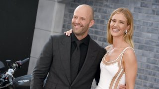 """In this July 13, 2019, file photo, Jason Statham and Rosie Huntington-Whiteley arrive at the Premiere Of Universal Pictures' """"Fast & Furious Presents: Hobbs & Shaw"""" at Dolby Theatre in Hollywood, California."""