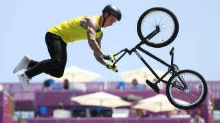 Logan Martin competes in the men's BMX freestyle final