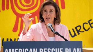 FILE - In his Aug. 10, 2021, file photo, House Speaker Nancy Pelosi speaks regarding the Emergency Rental Assistance program in San Francisco.