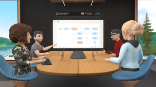 A mockup of avatars conducting a meeting in virtual reality on Facebook's Horizon Workrooms.
