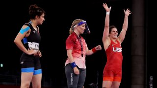 Adeline Gray won twice Saturday night to reach the Olympic wrestling semifinals