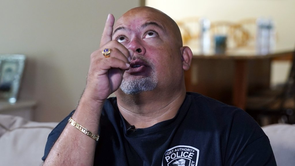Will Jimeno, the former Port Authority police officer who was rescued from the rubble of the Sept. 11, 2001 attacks at World Trade Center, describes the experience during an interview in his home in Chester