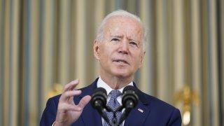 President Joe Biden speaks from the State Dining Room of the White House