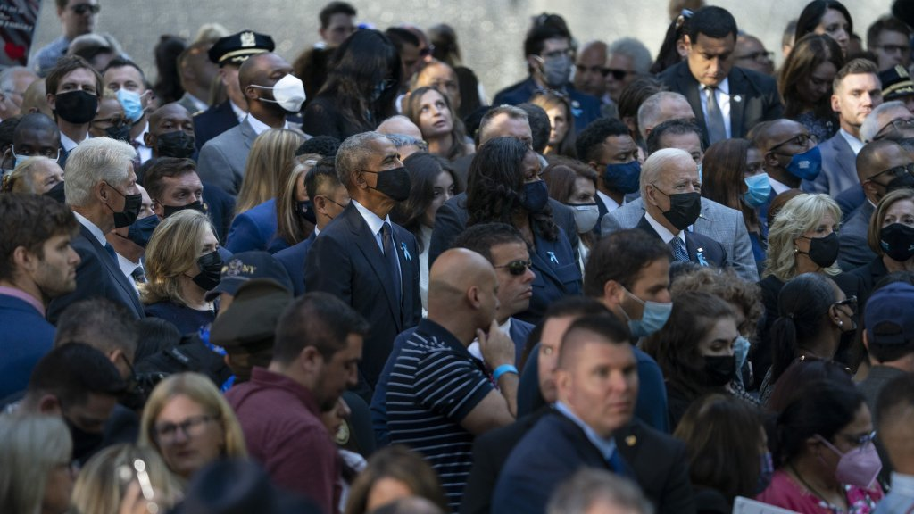 From left, former President Bill Clinton, former Sec. of State Hillary Clinton, former President Barack Obama, First Lady Michelle Obama, President Joe Biden, and First Lady Dr. Jill Biden, attend ceremonies to commemorate the 20th anniversary of the Sept. 11 terrorist attacks