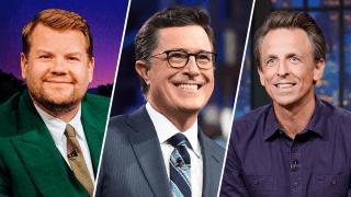 James Corden, Stephen Colbert and Seth Meyers