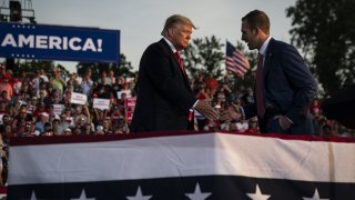 former President Donald J. Trump speaks with Republican congressional candidate Max Miller