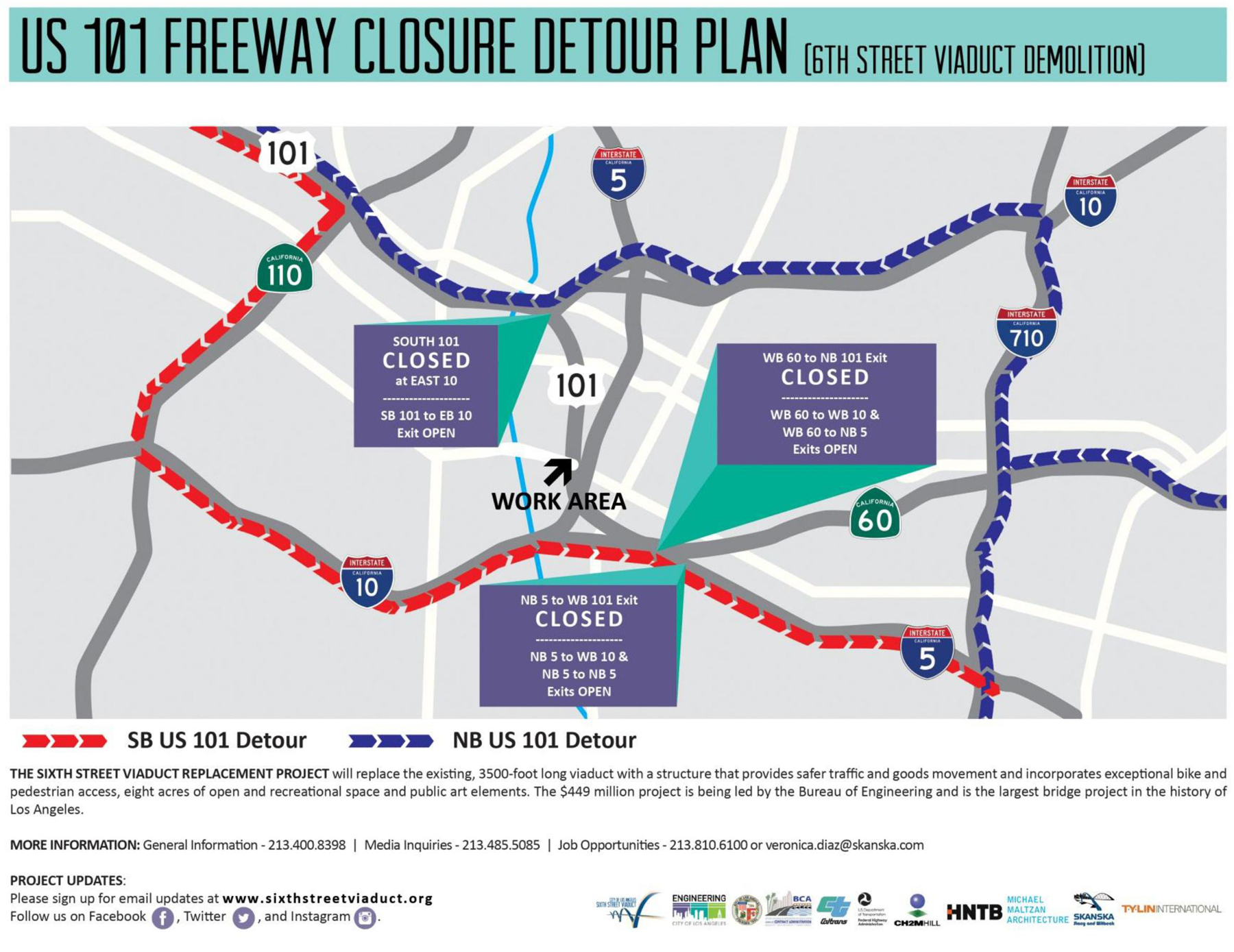 Map Of California 5 Freeway.Slowjam 101 Freeway Closure Faq Nbc Southern California