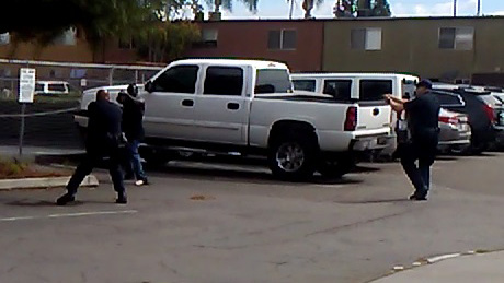 The El Cajon Police Department released this still from witness video, showing the suspect in confrontation with officers.