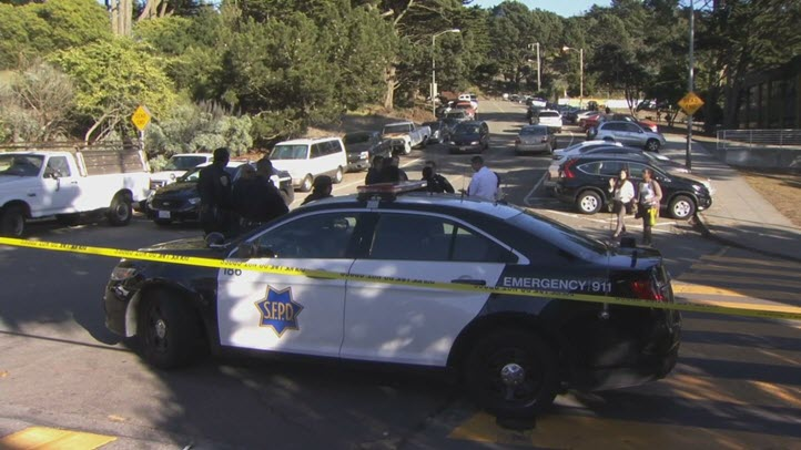 Police investigate a shooting outside a school in San Francisco that left four students injured. (Oct. 18, 2016)