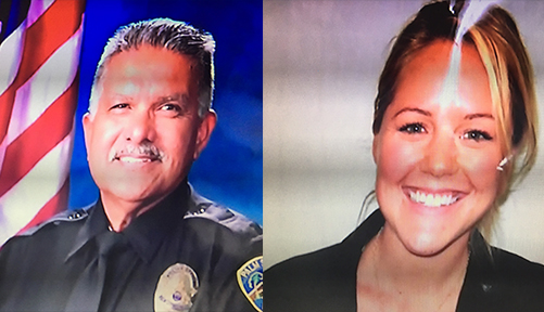 Palm Springs Police officers Jose Gilbert Vega, 63, and Lesley Zerebny, 27, were shot and killed while responding to a family disturbance call on Saturday, Oct. 8, 2016. A third officer was also shot and hospitalized.