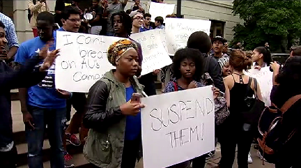 The AU students were joined by students from George Washington University, Howard University and the University of the District of Columbia at the protest.