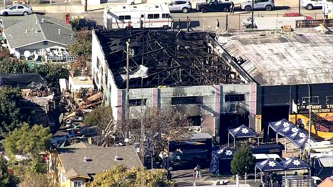 An Oakland warehouse was gutted by a three-alarm fire that killed at least nine people. (Dec. 2, 2016)