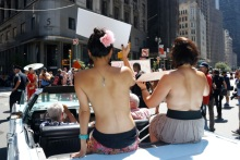 Marchers Barely Protest for Right to Go Topless