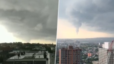 Funnel Cloud Forms Over the New York Harbor