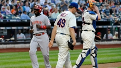 Leake's Pitching, Wright's E Sends Reds Past Mets