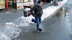 New Yorkers Stepping in Slush