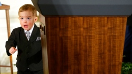 Cute Medal of Honor's Son Steals Show