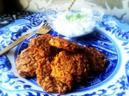 Vegetable Diaries: Baked Sweet Potato Latkes and Scallion Yogurt Sauce