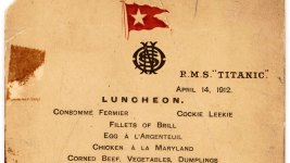 Titanic's Last Lunch Menu Goes to Auction in NYC