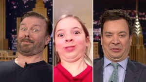 """Jimmy Fallon and Ricky Gervais Play """"Funny Face Off"""""""