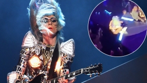 Lady Gaga Falls Off Stage in Fan's Arms at Las Vegas Enigma