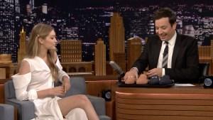 'Tonight': Gigi Hadid Gives Jimmy Fallon One-of-a-Kind Shoes