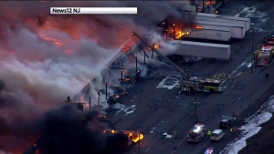 Warehouse Burns in New Jersey