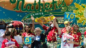 Joey Chestnut Eats Record-Breaking 70 Hot Dogs