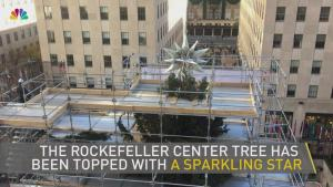 Sparkling Star Placed Atop Rockefeller Tree
