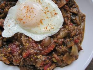 Sarah's Plate: Curried Eggplant Caponata with Runny Egg