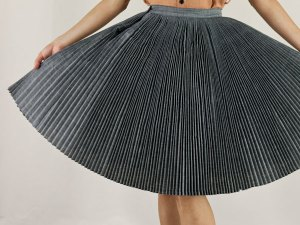 Chambray Knife-Pleat Skirt