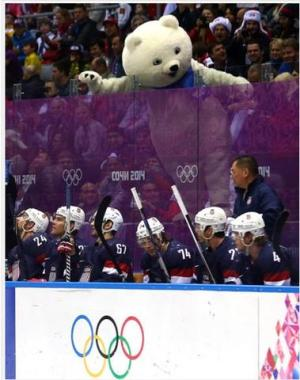 Sochi Mascot Creeps on U.S. Men's Hockey Team