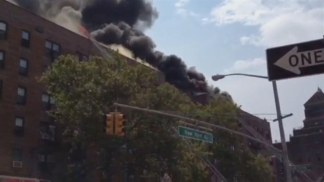 Raw Video: Fire Blazes at Brooklyn Apartment Building
