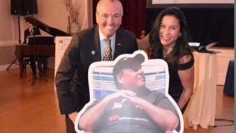 Phil Murphy Poses With Christie Cutout