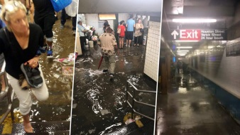 Straphangers Trudge Through Subway Rain As Storm Socks NYC