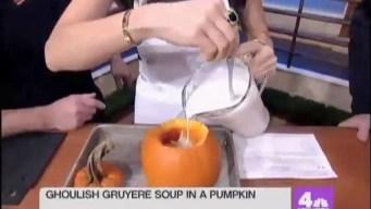 Ghoulish Gruyere Soup In a Pumpkin
