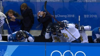Finland Coach Gashed by Puck to the Head