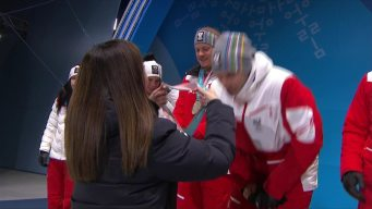 Medal Ceremony: Switzerland Receives Alpine Skiing Team Gold