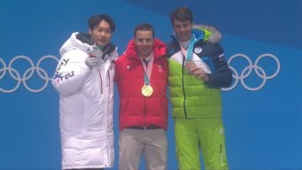 Medal Ceremony: Nevin Galmarini Gets Parallel GS Gold