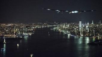 Solar Plane Departs NYC for Trans-Atlantic Flight