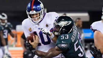 Wentz Throws 3 TDs in Win Over Giants; Barkley Breaks Out