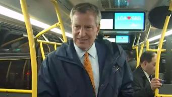 De Blasio Takes His First Ride on 14th Street Busway