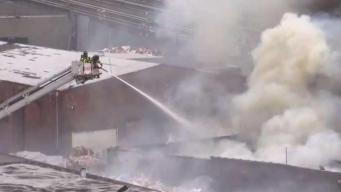 Huge Recycling Plant Fire Mucks Up LIRR Service