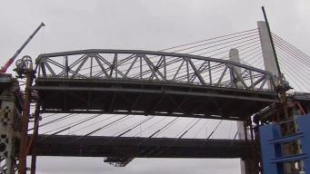 Main Span of Kosciuszko Bridge Lowered Onto Barges